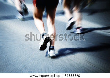 legs of marathon runners - stock photo