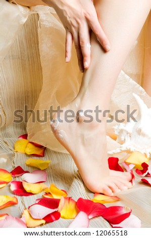 Legs of the girl with petals of roses
