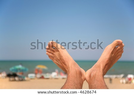 Legs of the man close up. - stock photo