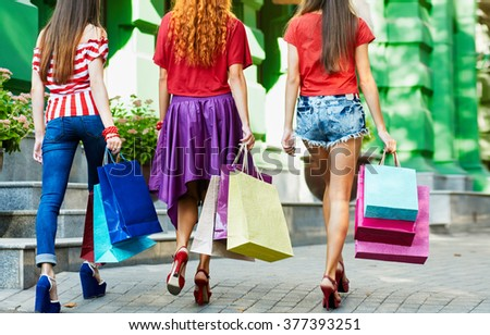 Legs with bags - stock photo