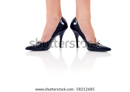 Legs with black high heels. Isolated on white background.