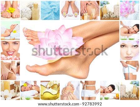 Legs with flower. Woman getting spa massage. Body care.