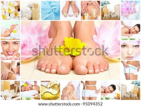 Legs with flower. Woman getting spa massage. Body care collage.