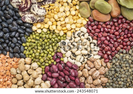 legume abstract - top view of a variety of colorful bean, lentil and pea - stock photo