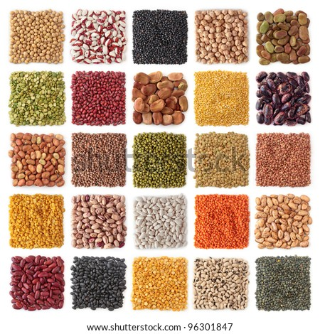 Legume collection isolated on white background - stock photo