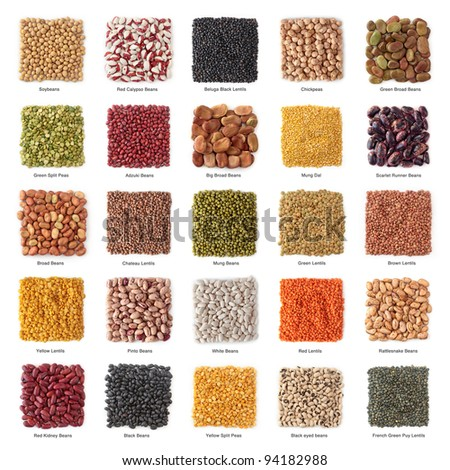 Legume collection with titles isolated on white background - stock photo