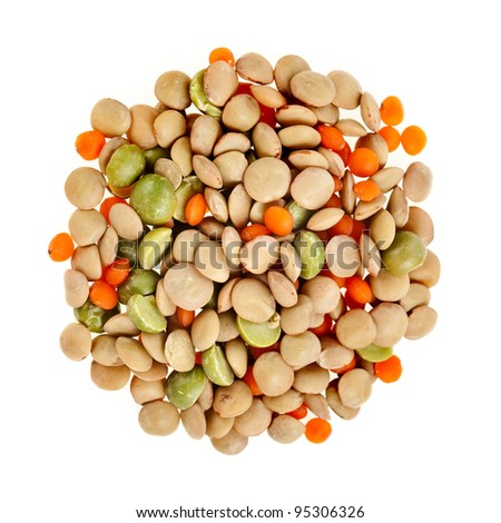 Legume Split Mix  Isolated on White Background - stock photo