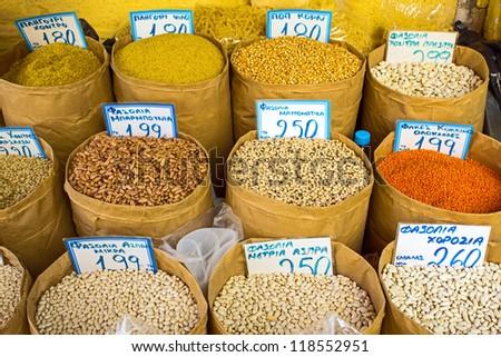 Legumes on a market - stock photo