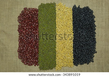Legumes on brown fabric Texture