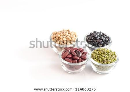 Legumes raw on a white background. - stock photo