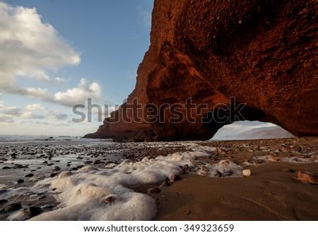 Legzira beach, Atlantic ocean coast in Marocco. - stock photo