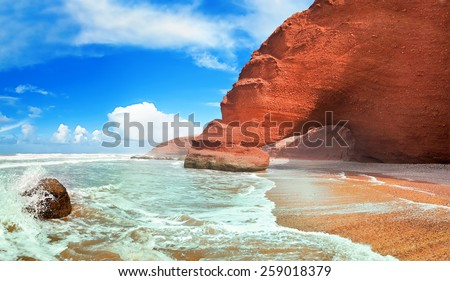 Legzira beach, Sidi Ifni, Souss-Massa-Draa, Morocco - stock photo