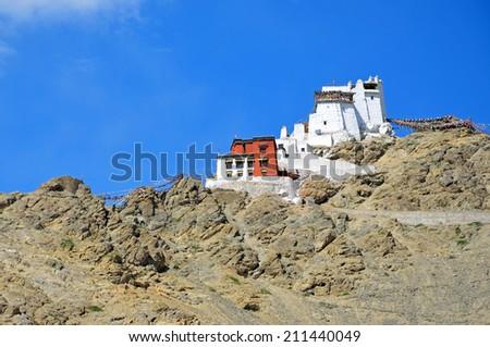 LEH, INDIA - AUGUST 2, 2014: Namgyal Tsemo Monastery or Namgyal Tsemo Gompa is a Buddhist monastery that was founded  on Namgyal Tsemo peak in 1430 by King Tashi Namgyal of Ladakh. - stock photo