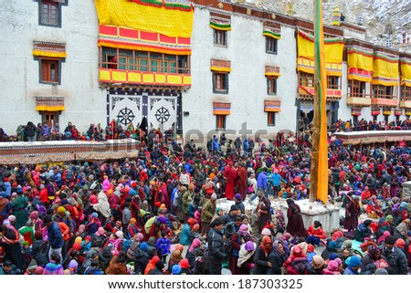 Leh,Ladakh-FEBRUARY 14  Many people go to Lama teach day  on February14,2014 in Hemis Monastery - stock photo