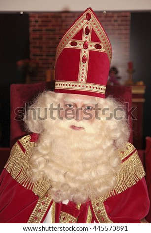 Leiden, The Netherlands - November 2011: A portrait of Sinterklaas, a dutch character who celebrates his birthday in the Netherlands on the fifth of december - stock photo
