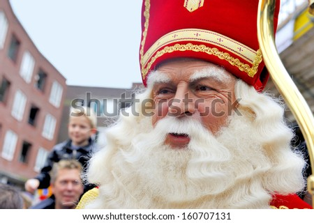 LEIDSCHENDAM, HOLLAND - NOVEMBER 13, 2010: Sinterklaas in close up while walking in the streets of Leidschendam the Netherlands. November 13, 2010 Leidschendam, Holland - stock photo