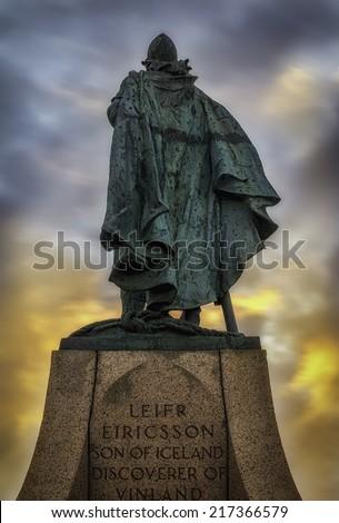 Leif Ericsson statue in Reykjavik, Iceland with midnight sun - stock photo