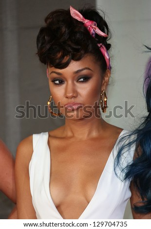 Leigh-Anne Pinnock of Little Mix arriving for the Brit Awards 2013 at the O2 Arena, Greenwich, London. 20/02/2013 Picture by: Henry Harris - stock photo
