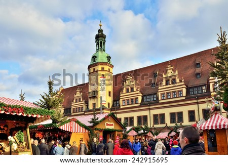 LEIPZIG, GERMANY-DECEMBER 21, 2014: Christmas Market in historical center of the city attracts tourists and local people during winter holidays - stock photo
