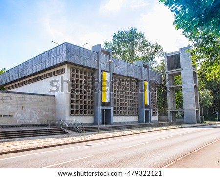 LEIPZIG, GERMANY - JUNE 12, 2014: The Propsteikirche St Trinitas meaning Church of St Trinity parish church designed in 1968 by the school of architecture of the GDR (HDR)
