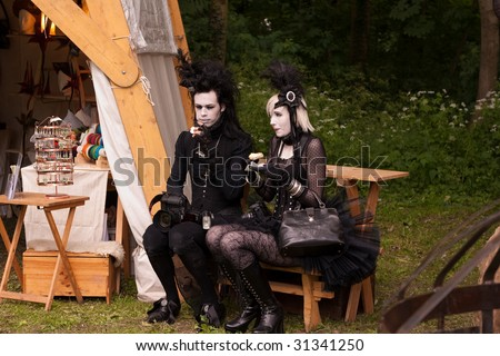 LEIPZIG, GERMANY - MAY 29 to JUNE 01: Wave-Gotik-Treffen (WGT) is the biggest festival for gothic music and culture in the world, 2009.