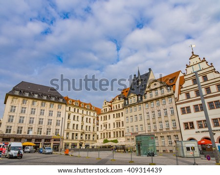 LEIPZIG, GERMANY - SEP 22: The Market Square in Leipzig, Germany on September 22, 2013. Leipzig is the largest city in the federal state of Saxony, Germany.