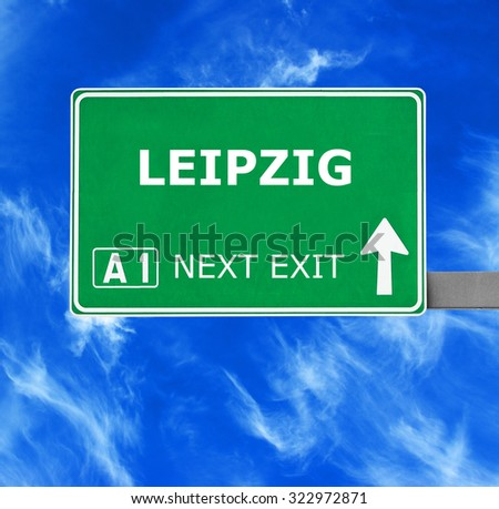 LEIPZIG road sign against clear blue sky