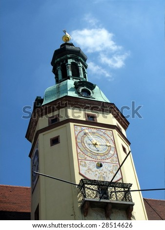 Leipzig town hall with famous clock