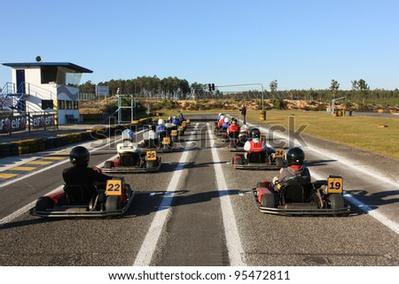 LEIRIA, PORTUGAL - JANUARY 28: An unknown driver/team participating in Old Motor Club Of Marinha Grande Karting Race, organized by Motor Club Of Marinha Grande, in Leiria, Portugal on January 28, 2012.