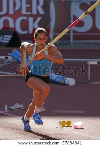 LEIRIA, PORTUGAL - JULY 18: Portuguese Athletics Championship, Marta Onofre (IND) pole vault women , July 18, 2010 in Leiria, Portugal - stock photo