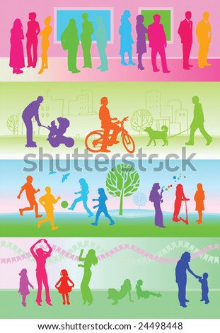leisure activities silhouettes background / green / pink - stock photo