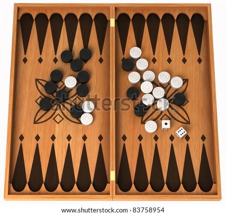 Leisure activity: wooden backgammon isolated over white - stock photo