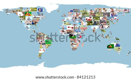Leisure and sport images forming a world map - stock photo