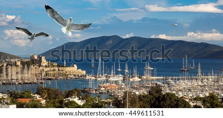 Leisure and yachting on Aegean sea. Marine landscape with yachts in a Bodrum harbor. Travel and vacation in Turkey - panoramic view with old castle, islands and flying seagulls. - stock photo