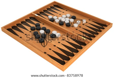 Leisure: backgammon with chips and dice isolated over white - stock photo