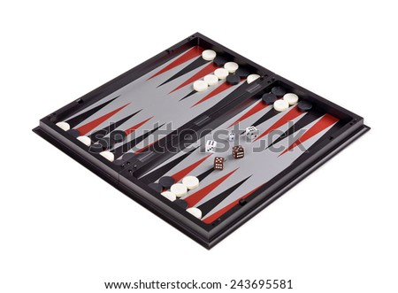 Leisure: board games backgammon with chips and dice isolated over white   - stock photo
