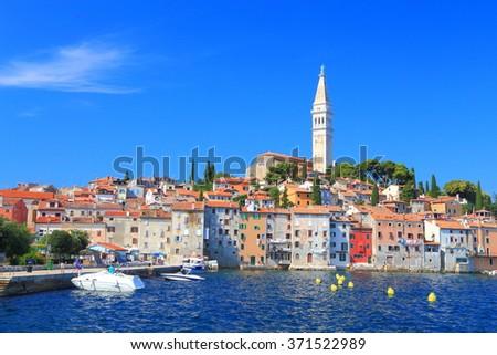 Leisure boats on the Adriatic sea near the old Venetian town of Rovinj, Croatia - stock photo