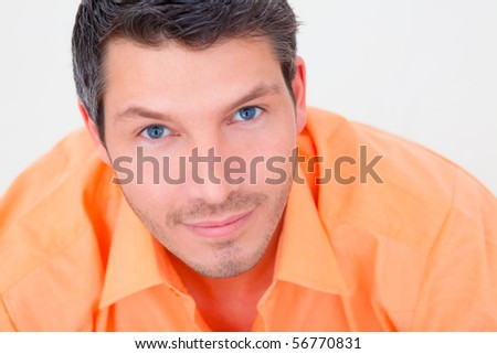 Leisure relaxed pensive male at home - stock photo