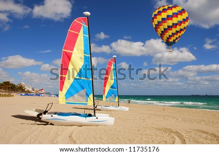 Leisure sports activities on a tropical beach in South Florida - stock photo