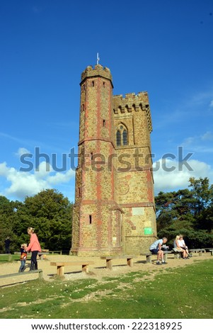 Leith Hill, United Kingdom - October 03, 2014: Tourists visiting Leith Hill Tower on top of the North Downs in Surrey commands a 360 degree view from Brighton to London. - stock photo