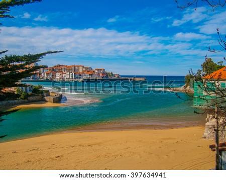 Lekeitio beach island on sunny day - stock photo