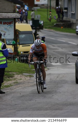 LELEX, FRANCE - AUG 15: Bert-Jan Lindeman riding Le Tour de l'Ain UCI Europe Tour Pro Race on August 15, 2014 in Lelex, Monts du Jura, Ain, France. Bert-Jan Lindeman won the race. - stock photo
