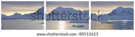 Lemaire Channel, Antarctica. Triptych image taken at sunset during beautiful, calm waters. - stock photo