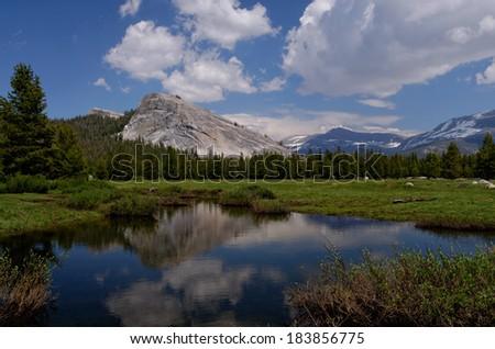 Lembert Dome reflection, Tuolumne Meadows, Yosemite National Park - stock photo