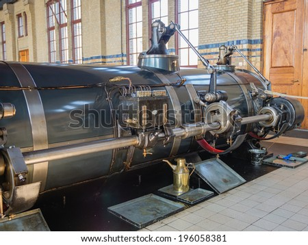 LEMMER, NETHERLANDS - 2 MARCH 2014: Inside the machine room of historic Wouda steam pumping station from 1920, the largest ever built still in operation. It pumps away excess water in Friesland.