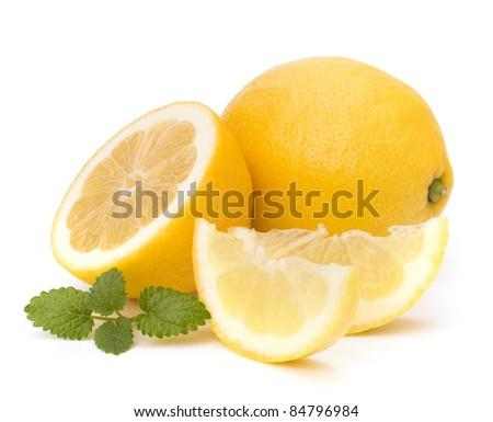 Lemon and citron mint leaf isolated on white background - stock photo