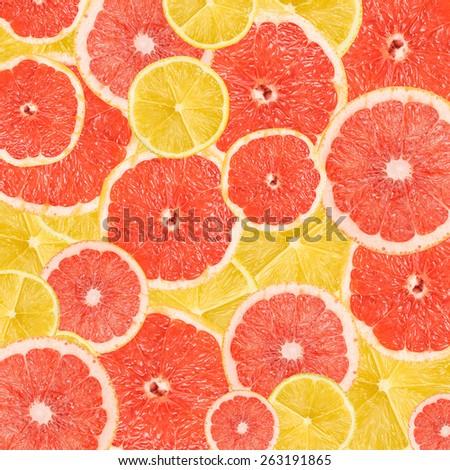 Lemon And Grapefruit Slice Abstract Seamless Pattern - stock photo