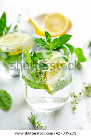 Lemon and Herb Detox Water - stock photo