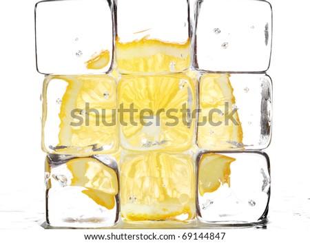 lemon and ice cubes - stock photo