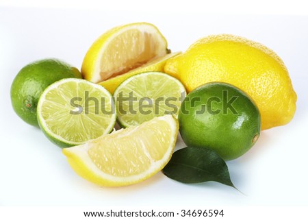 Lemon and lime on white background